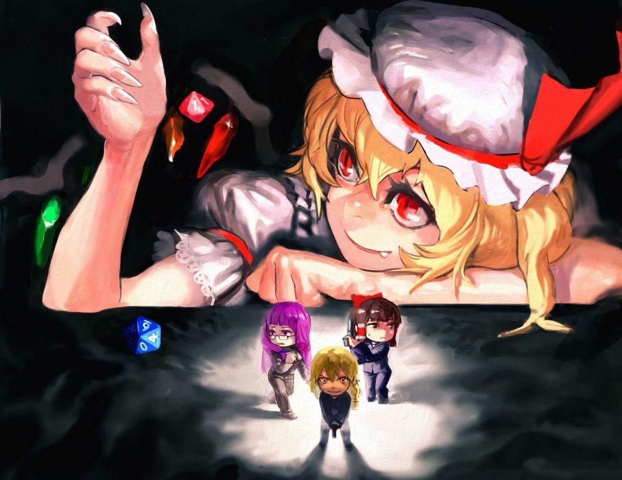 video games Touhou Kirisame Marisa Hakurei Reimu Flandre Scarlet Patchouli Knowledge anime girls wallpaper