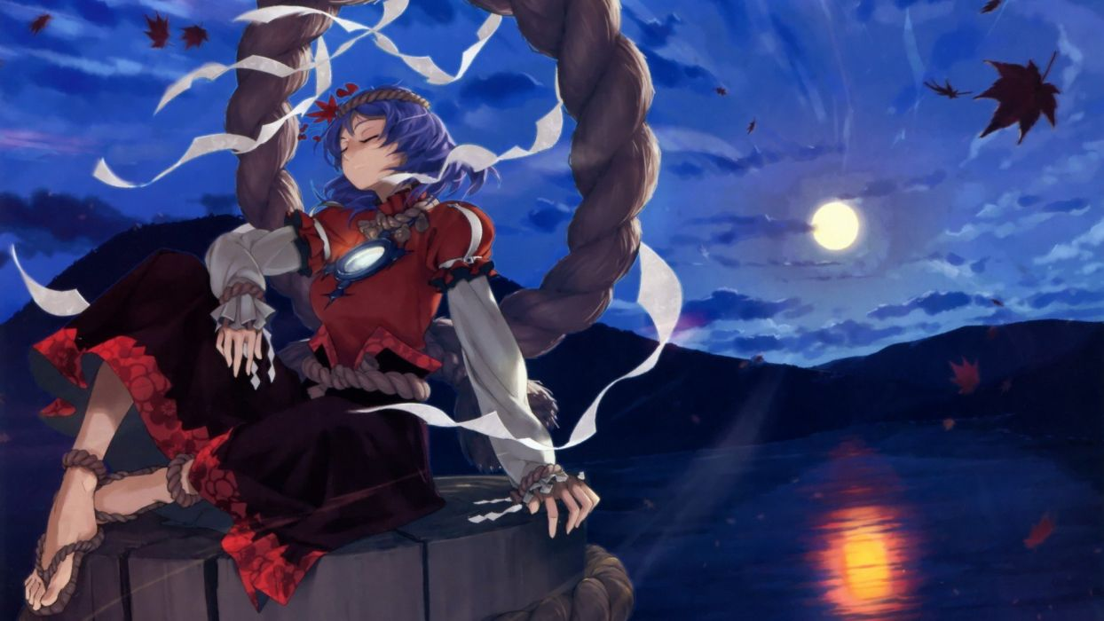 water video games mountains clouds landscapes Touhou leaves blue hair Goddess short hair sitting maple leaf sandals lakes closed eyes Yasaka Kanako reflections shimenawa anime girls onbashira ropes hair ornaments bangs skies wallpaper