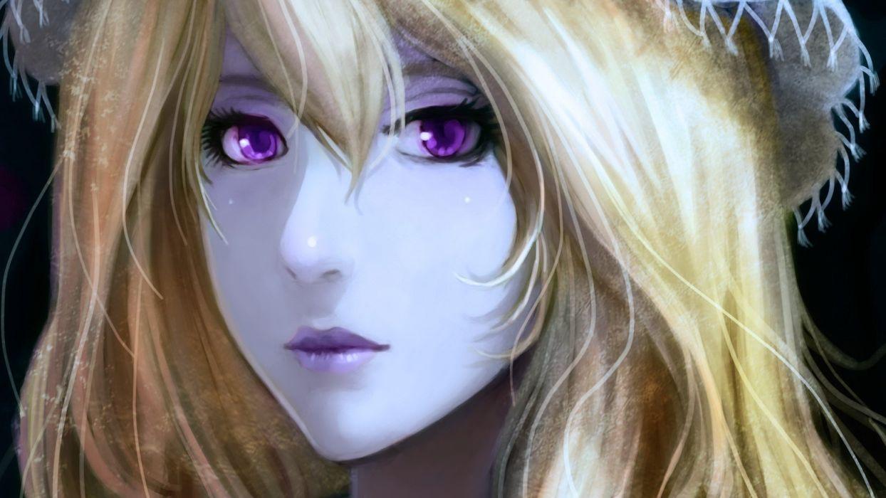 blondes close-up video games Touhou long hair Yakumo Yukari realistic purple eyes hats anime girls faces pale skin wallpaper
