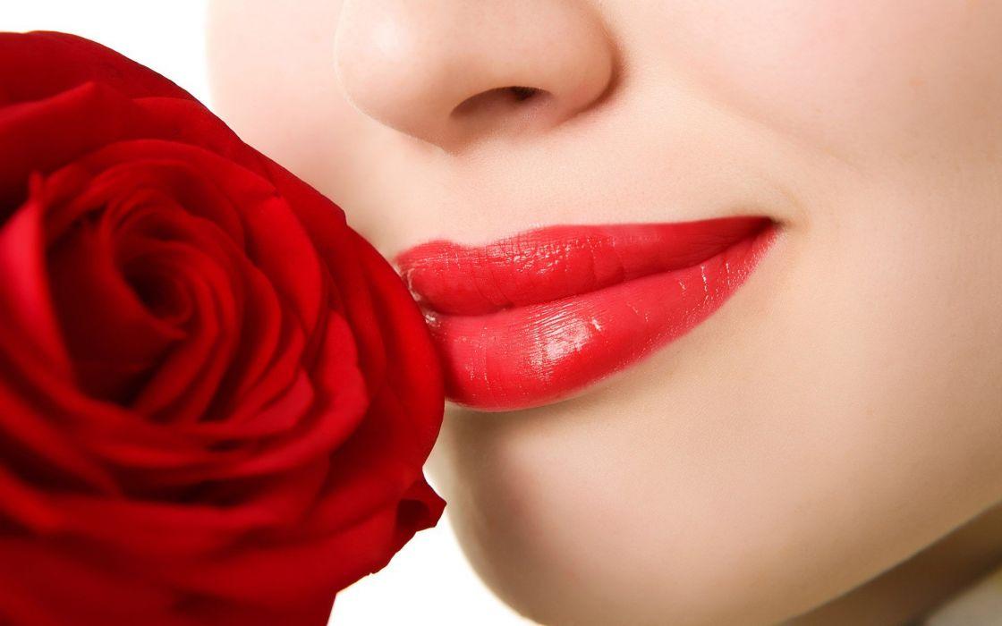 women lips roses wallpaper