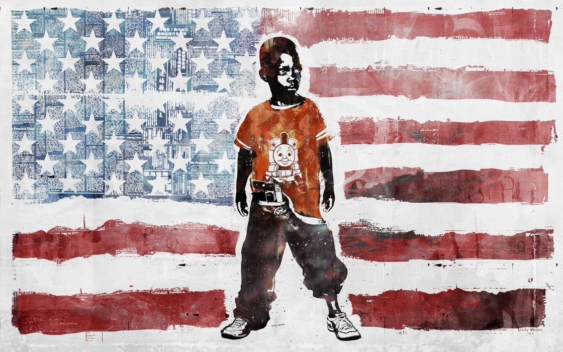 Black People Guns Vhm Alex Artwork American Flag Cherry Children Wallpaper