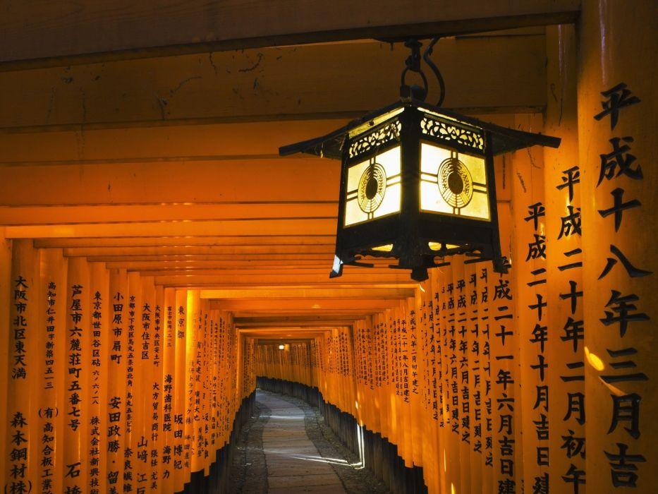 Japan lanterns shrine Kyoto Fushimi Inari Shrine wallpaper