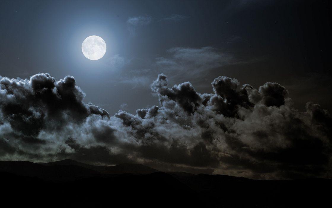 clouds night Moon skies wallpaper