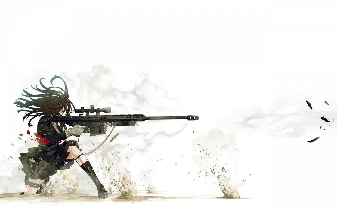 school uniforms snipers anime action simple background Kozaki Yusuke original characters wallpaper