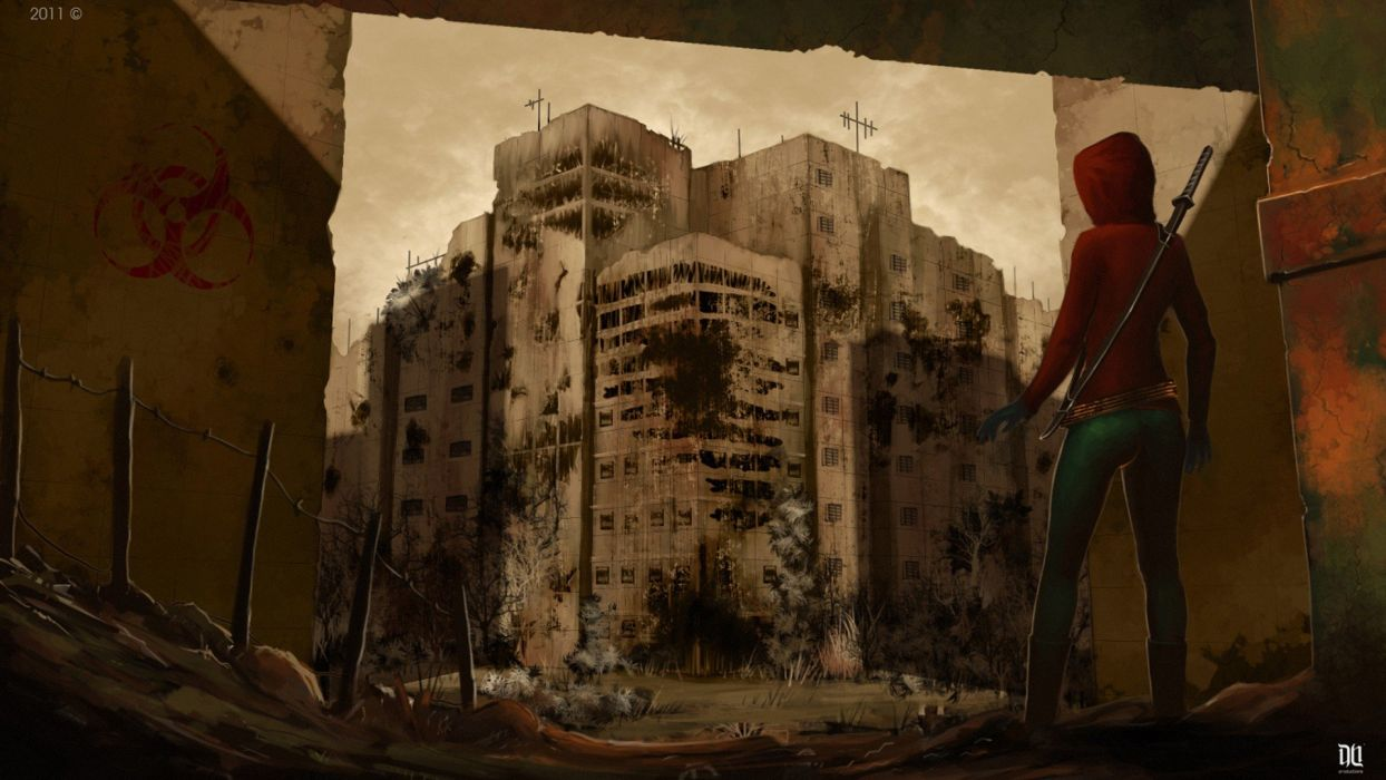 ruins post-apocalyptic artwork wallpaper