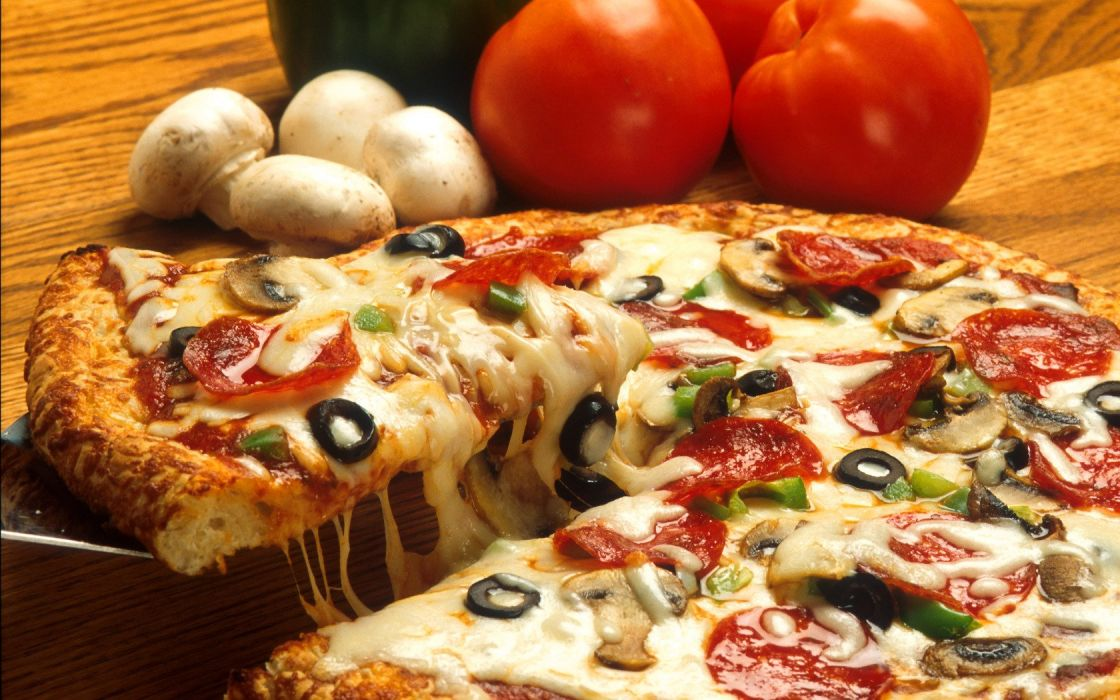 food pizza mushrooms tomatoes  wallpaper