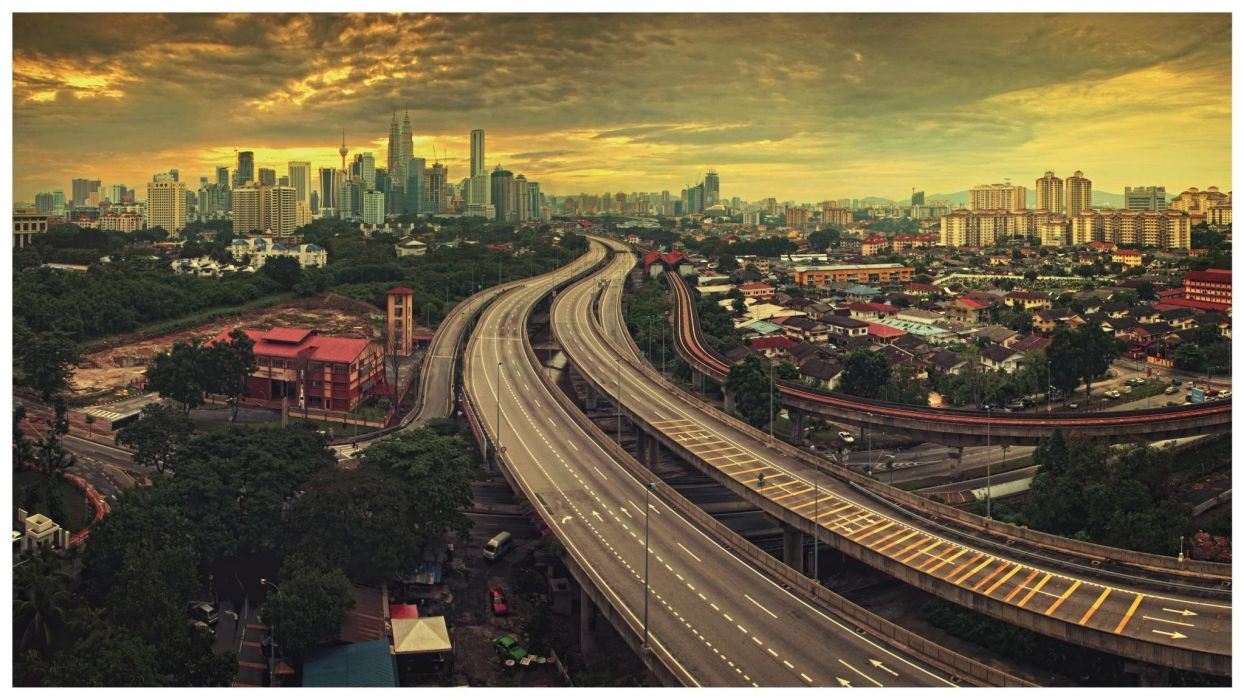 Cityscapes Urban Highways Skyscrapers Malaysia Asia