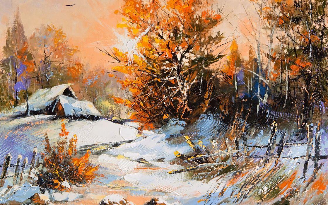 paintings winter artwork wallpaper