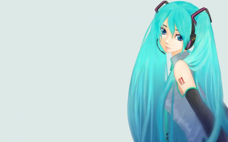 headphones tattoos Vocaloid Hatsune Miku blue eyes tie long hair blue hair twintails smiling shirts simple background anime girls microphones wallpaper