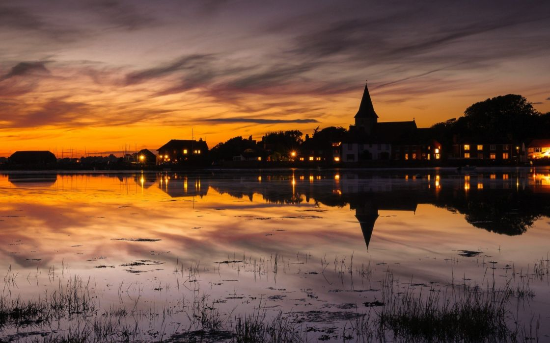 sunset cityscapes reflections wallpaper