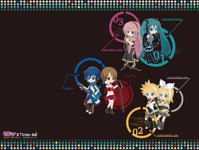 headphones Vocaloid Hatsune Miku blue eyes Megurine Luka chibi long hair Kaito (Vocaloid) Kagamine Rin Kagamine Len short hair Meiko anime girls wallpaper