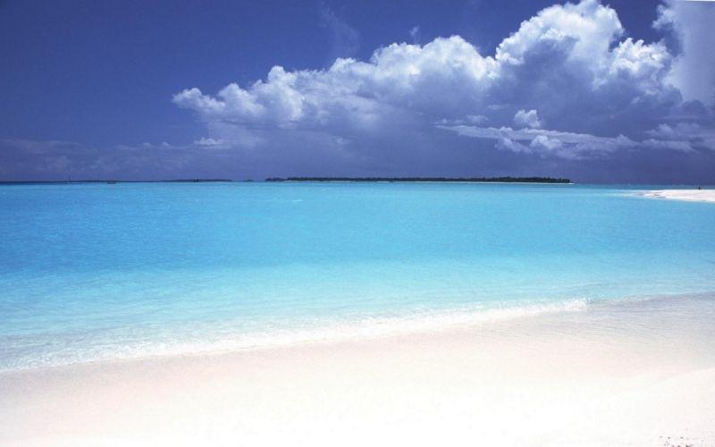 water ocean clouds sand beaches wallpaper