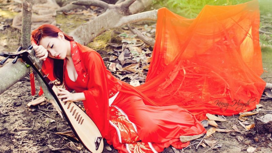 women redheads outdoors Asians red dress wallpaper