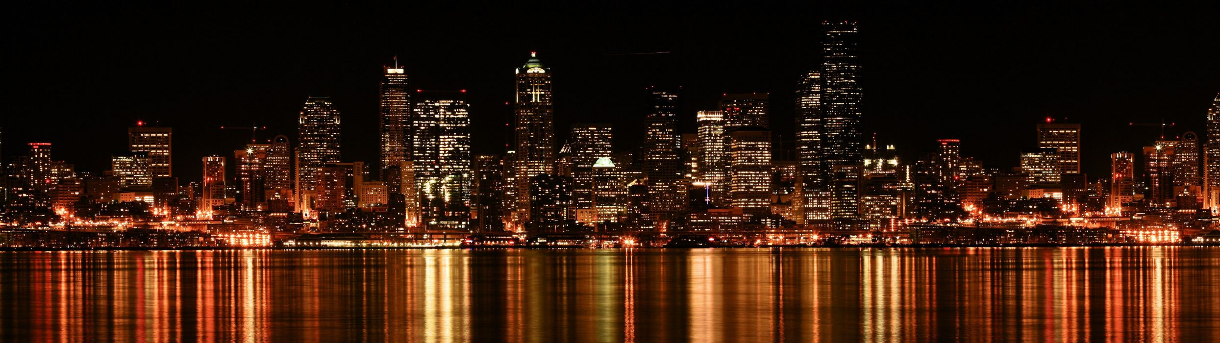 cityscapes night buildings reflections wallpaper