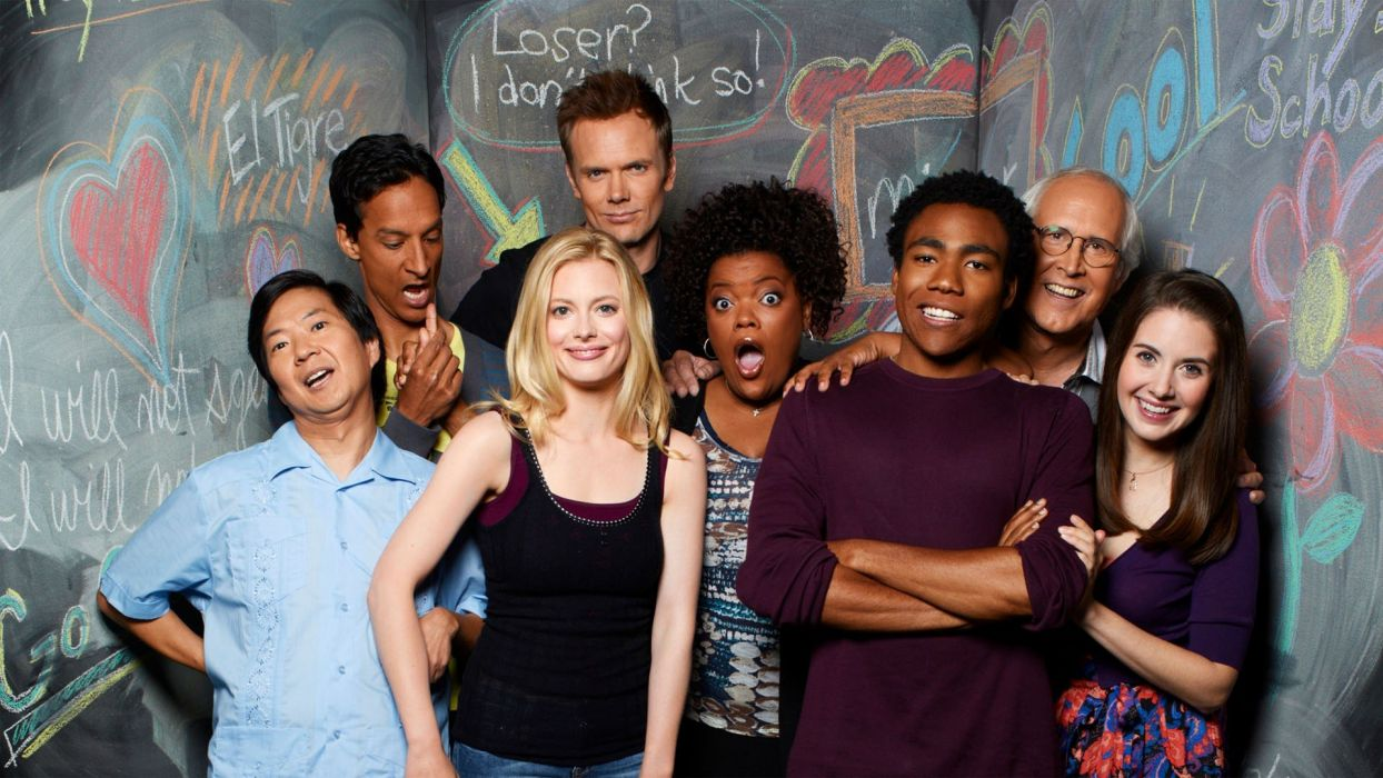 Alison Brie Gillian Jacobs Community Chevy Chase television cast Joel McHale Donald Glover Danny Pudi Yvette Nicole Brown Ken Jeong wallpaper