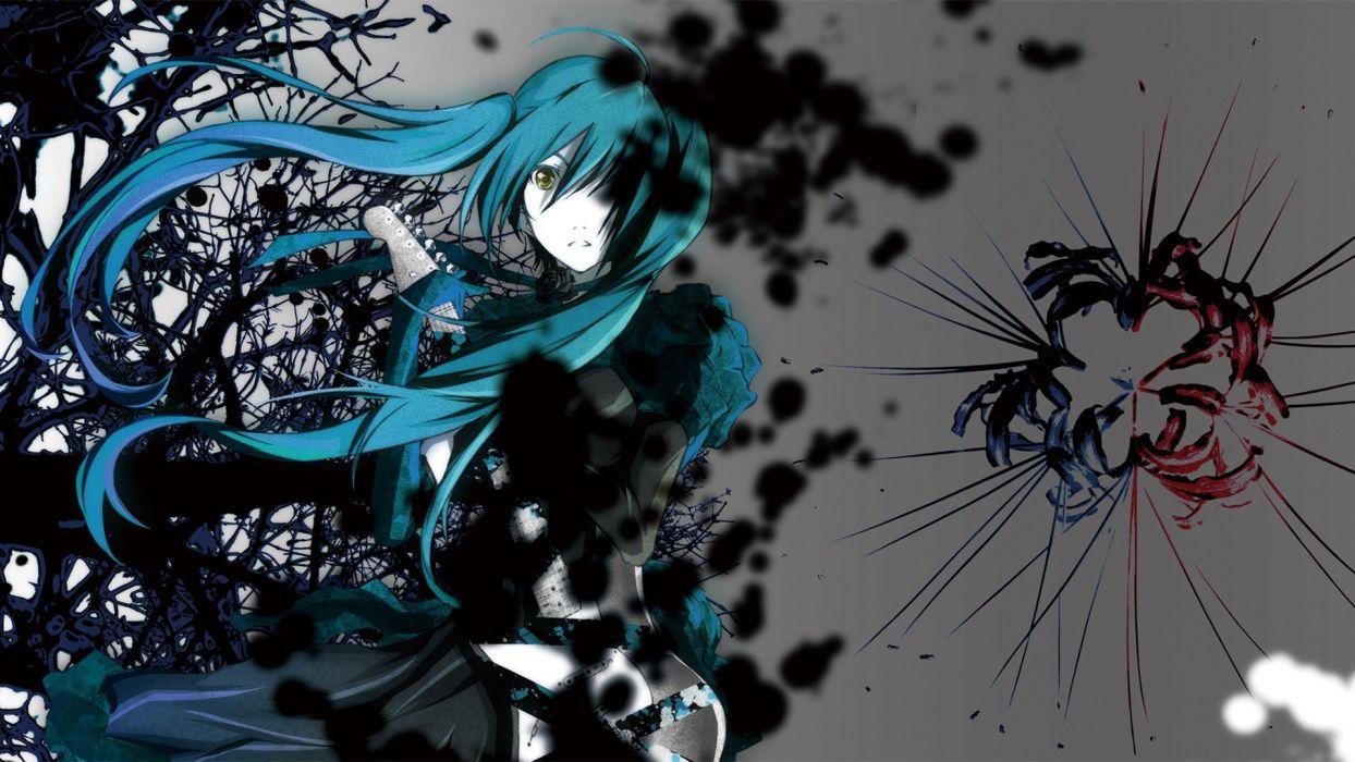Vocaloid Hatsune Miku twintails aqua hair anime girls cyan hair wallpaper