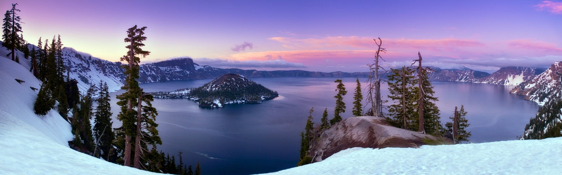 water landscapes snow trees Oregon panorama snow landscapes crater lake emerald bay wallpaper
