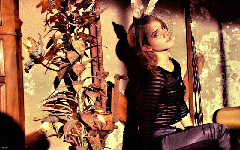 women Emma Watson models bunny ears wallpaper
