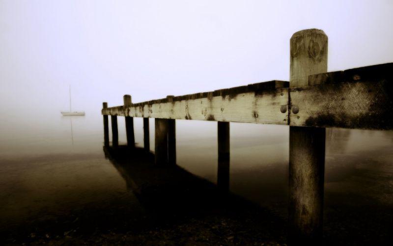 fog piers sea wallpaper