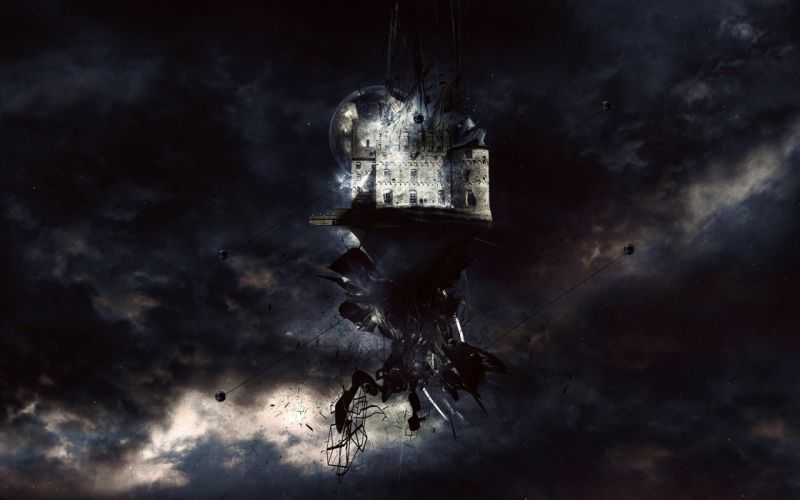 abstract castles floating islands skyscapes wallpaper