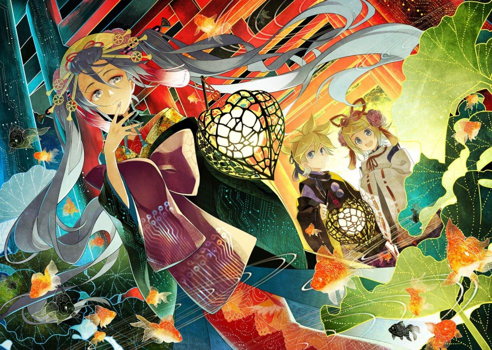 blondes Vocaloid Hatsune Miku blue eyes animals fish long hair ribbons kimono Kagamine Rin blue hair Kagamine Len lanterns gate short hair twintails smiling open mouth traditional dressing torii ponytails gray eyes Japanese clothes hair ornaments wallpaper