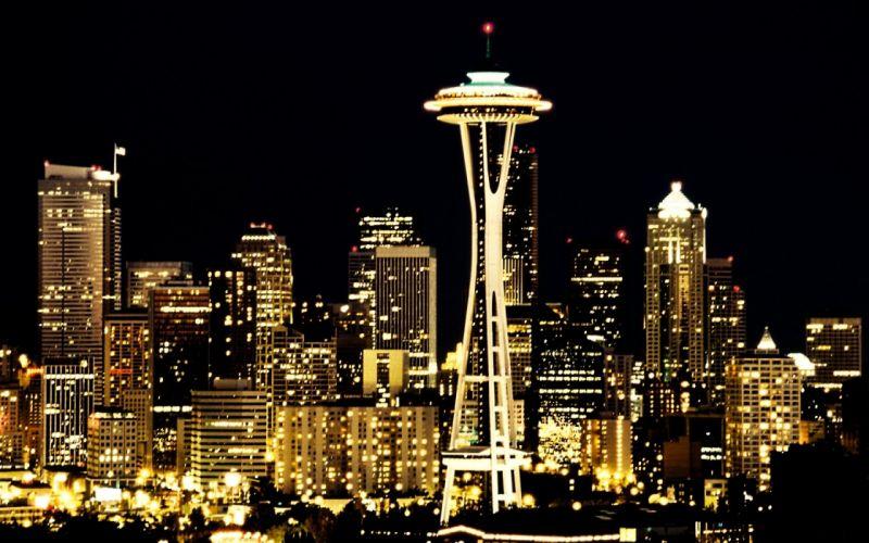 skylines Seattle city lights wallpaper