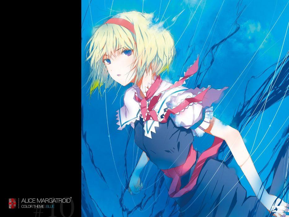 Touhou dress blue eyes ribbons short hair Alice Margatroid anime girls wallpaper