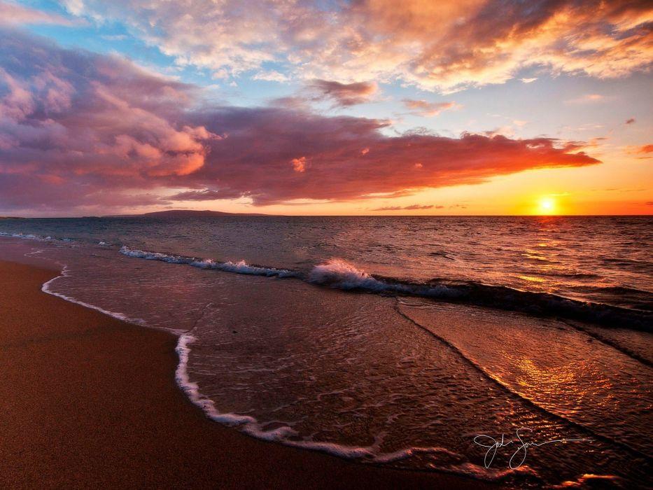 water sunset nature skies sea beaches wallpaper