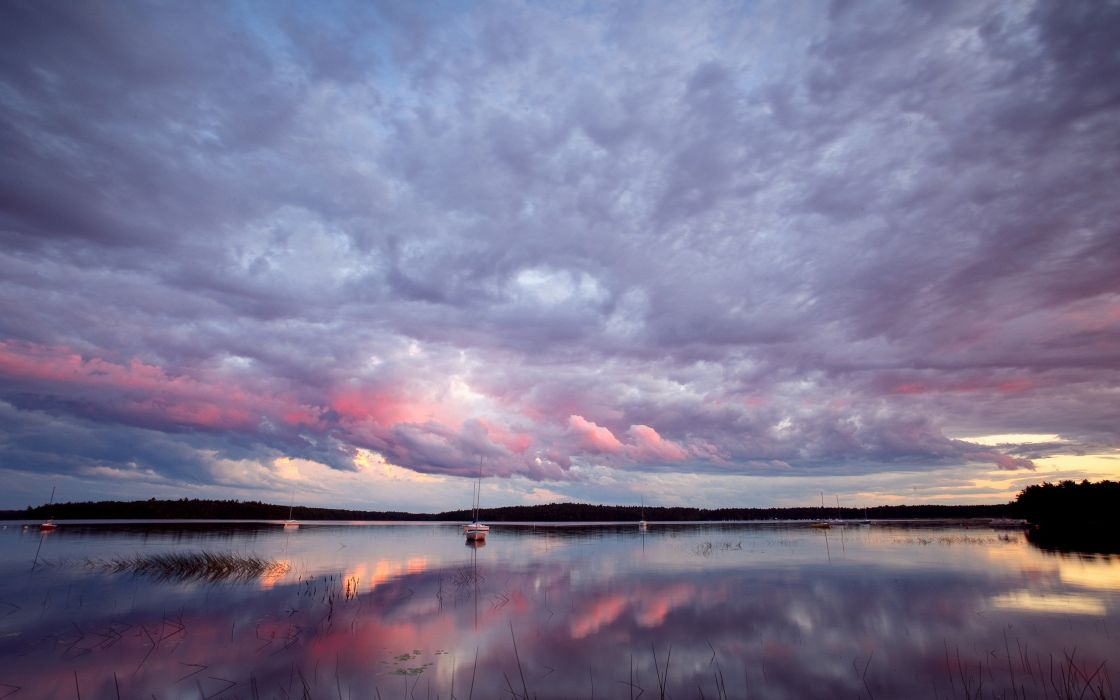 water clouds reflections wallpaper