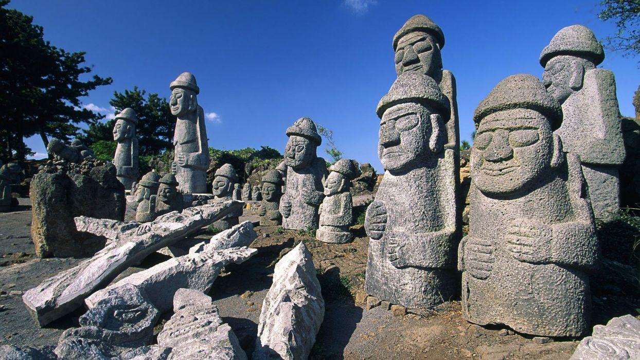 landscapes islands Korea statues wallpaper