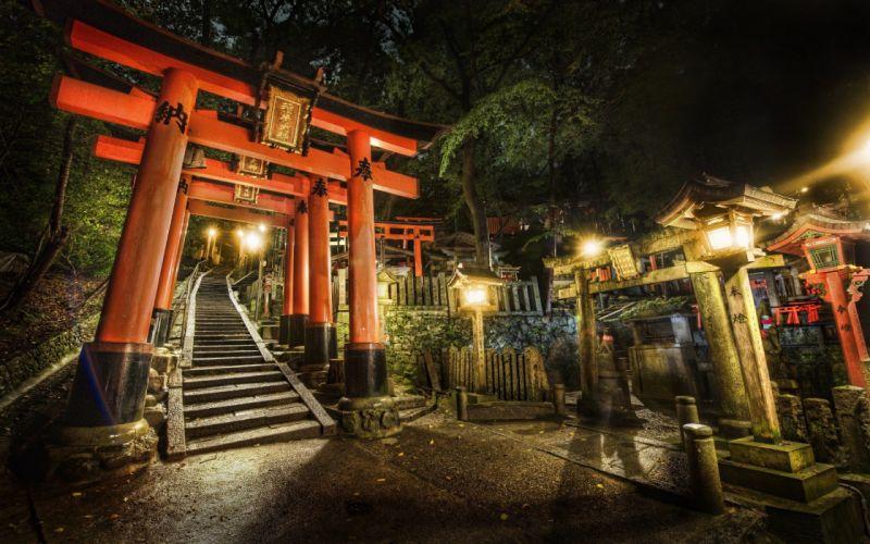 Japan night stairways shrine Kyoto torii cemetery torii gate wallpaper