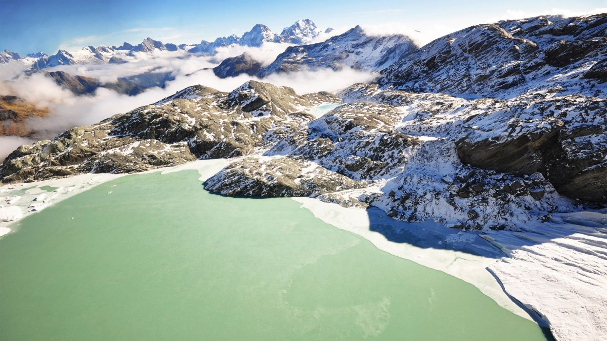 green mountains nature winter snow wildlife end of the world lakes skyscapes Mount sunny wallpaper