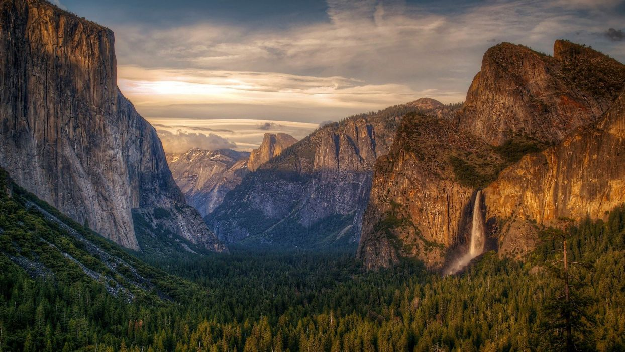 mountains landscapes nature valleys waterfalls National Park Yosemite National Park wallpaper