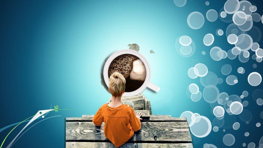 blue coffee bubbles fantasy art digital art coffee cups children wallpaper