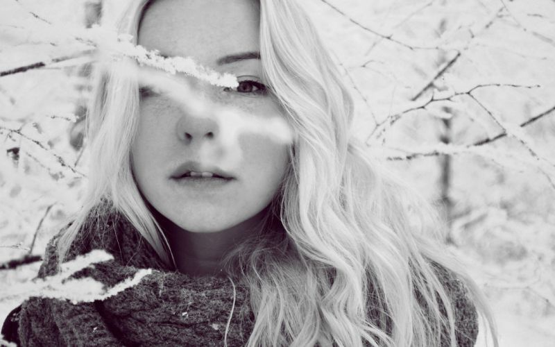blondes women winter snow cold wallpaper