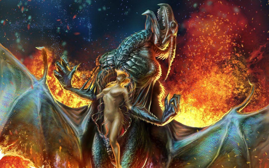 women wings dragons fire fantasy art artwork wallpaper
