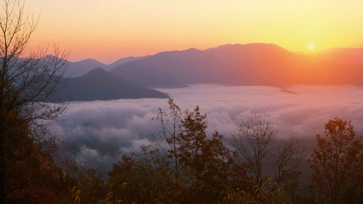 sunrise mountains forests memorial Joyce North Carolina wallpaper