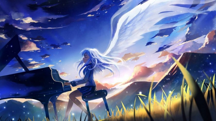 angels mountains clouds wings piano Angel Beats! long hair Tachibana Kanade closed eyes white hair anime girls wallpaper