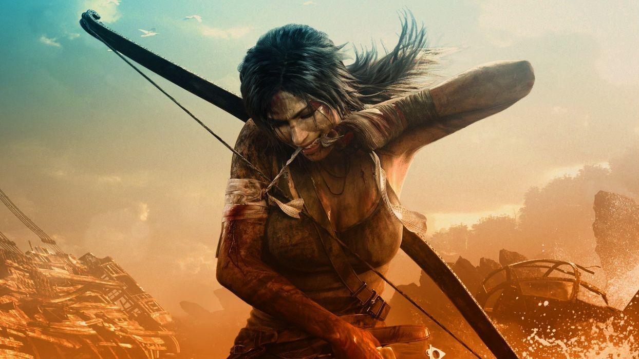 Tomb Raider Lara Croft bow (weapon) portraits wallpaper