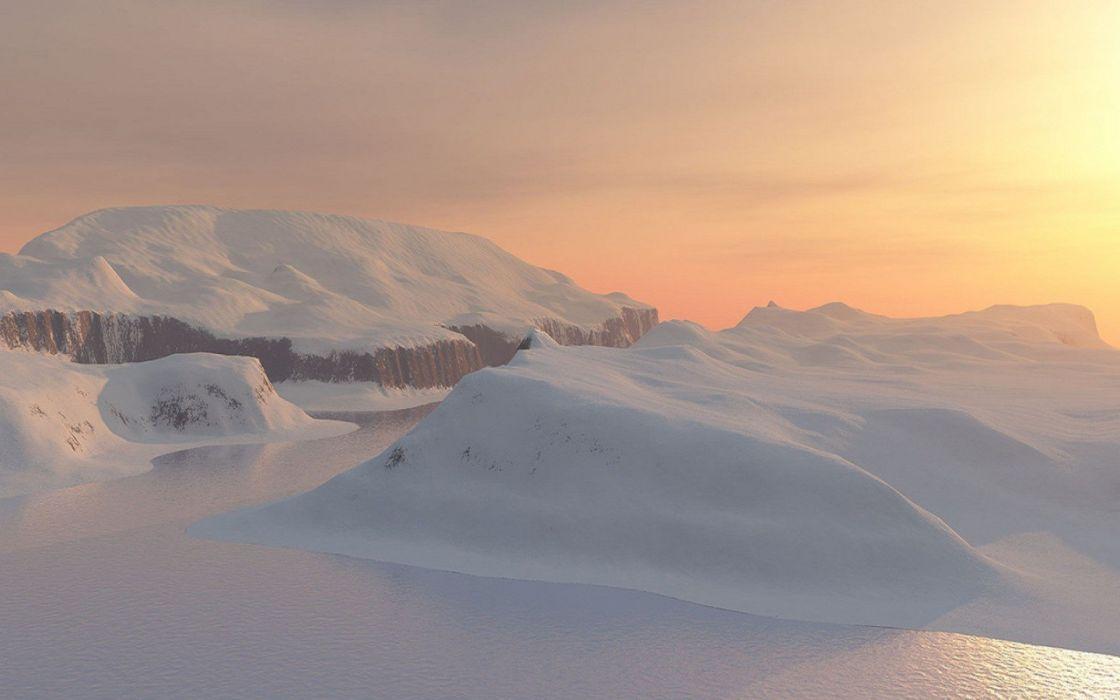 sunset snow Sun skies wallpaper
