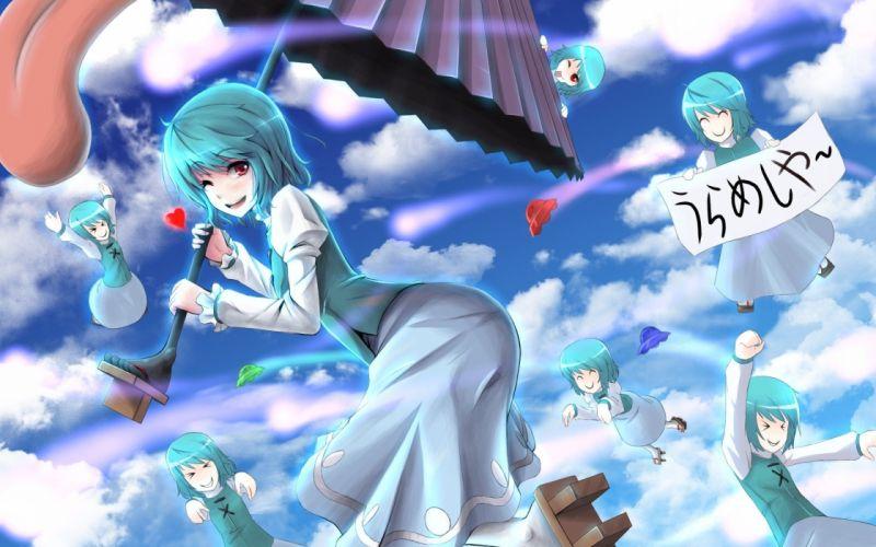 Touhou blue hair red eyes short hair anime wink Tatara Kogasa anime girls wallpaper