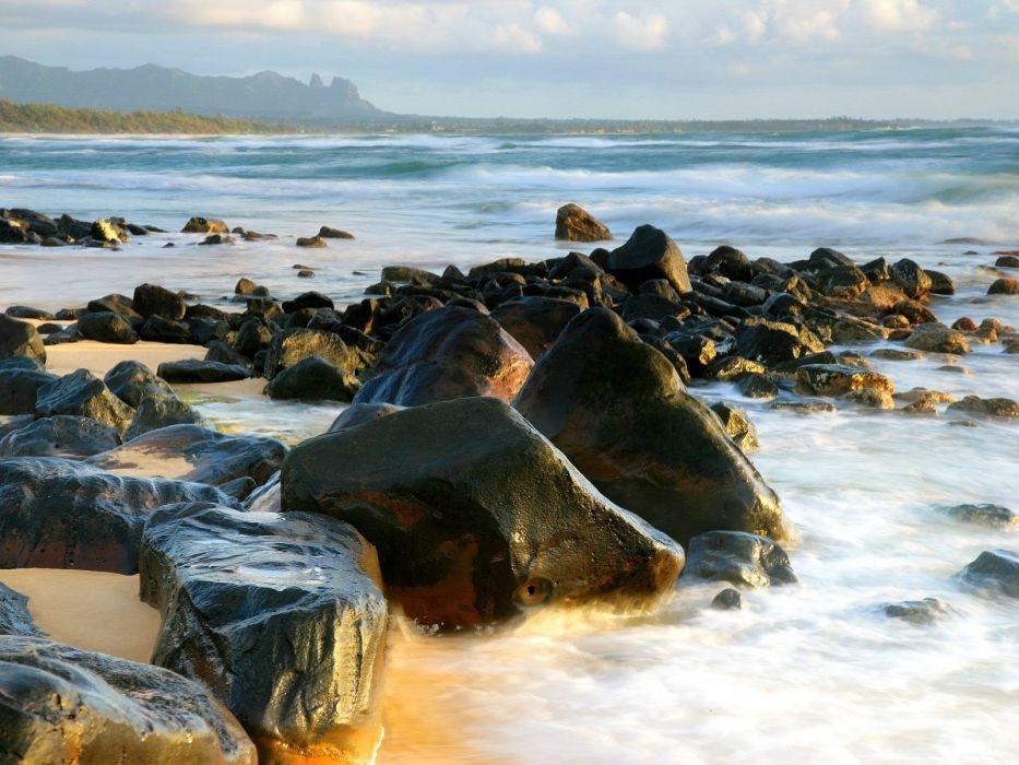 light sunrise Distance shore kong kauai wallpaper