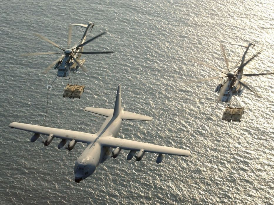 aircraft military helicopters vehicles C-130 Hercules MH-53 Pave Low wallpaper