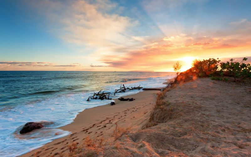 sunset clouds landscapes nature coast sand waves inferno sea beaches wallpaper