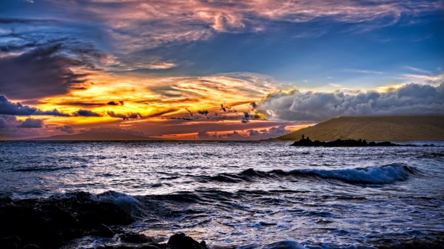 sunset sunrise clouds landscapes nature waves skyscapes land sea wallpaper