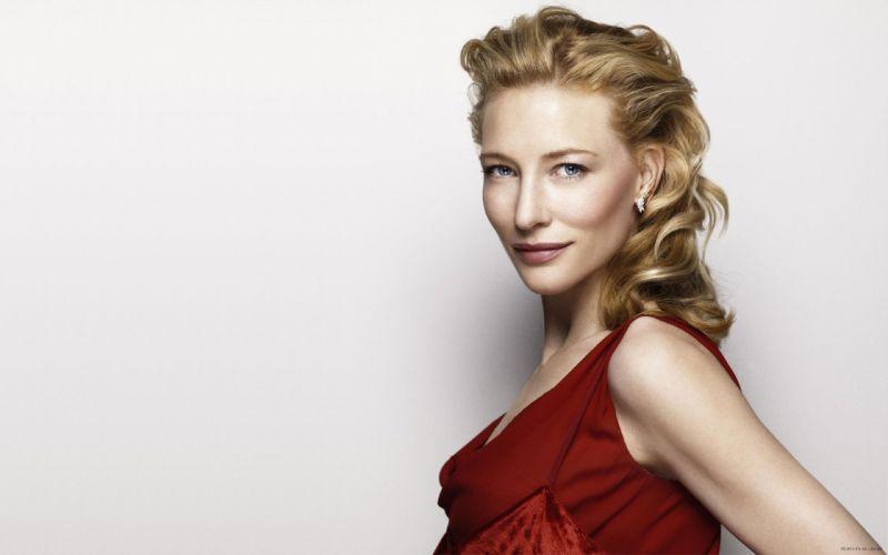 blondes women blue eyes actress Cate Blanchett red dress white background wallpaper