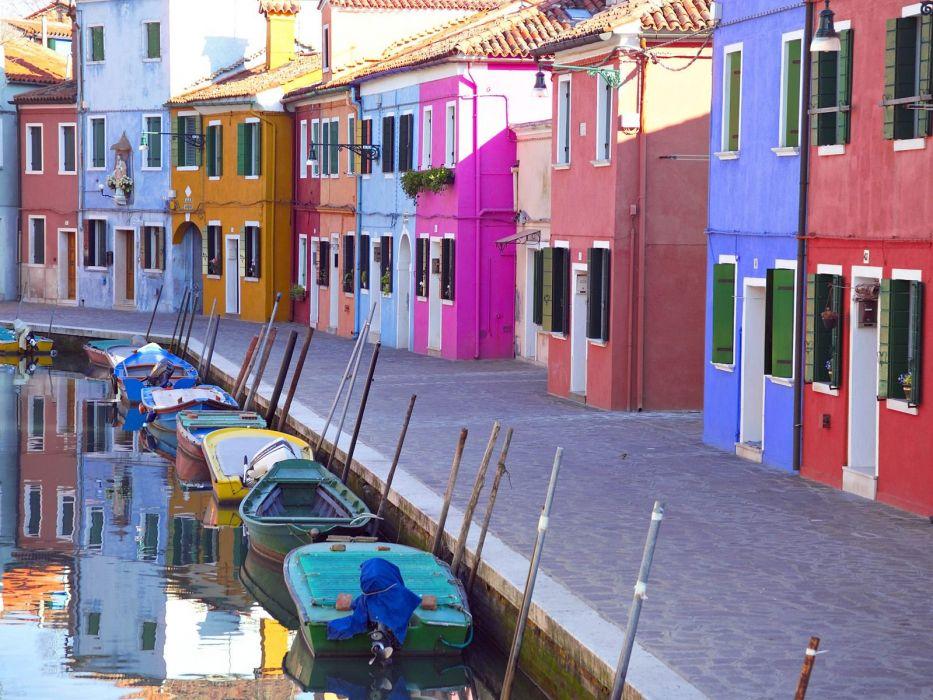 multicolor houses rivers wallpaper
