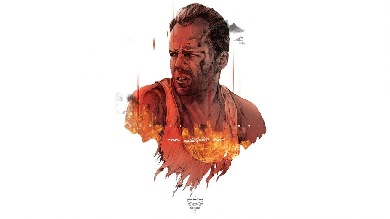 movies Die Hard Bruce Willis fan art john mcclain action movie wallpaper