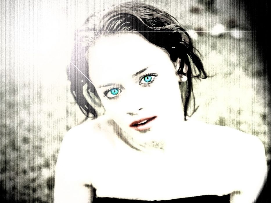 black and white Alexis Bledel selective coloring fan art wallpaper
