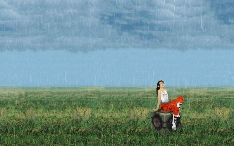 Portal rain Chell wallpaper